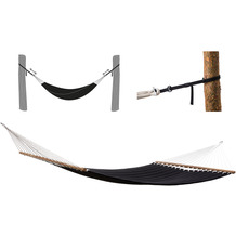 Grasekamp Stabhängematte 200 x 140 cm gepolstert  Schwarz mit Befestigungsgurten 160 Kg  Hängematte Hammock Mehrpersonen Schwarz