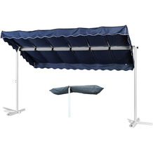 Grasekamp Standmarkise Dubai Blau 375 x 225 cm mit  Schutzhülle Terrassenüberdachung  Raffmarkise Mobile Markise Ziehharmonika Blau