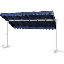 Grasekamp Standmarkise Dubai Blau 375 x 225 cm  Terrassenüberdachung Raffmarkise Mobile  Markise Blau