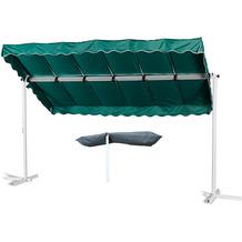 Grasekamp Standmarkise Dubai Grün 375 x 225 cm mit  Schutzhülle Terrassenüberdachung  Raffmarkise Mobile Markise Ziehharmonika Grün