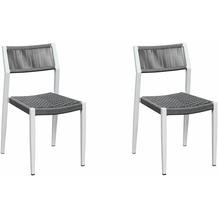 Grasekamp Stapelstuhl-Set Sol 2 teilig aus  Aluminium - Weiß/Grau Anthrazit/Weiß