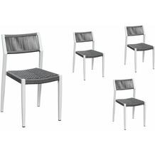 Grasekamp Stapelstuhl-Set Sol 4 teilig aus  Aluminium - Weiß/Grau Anthrazit/Weiß