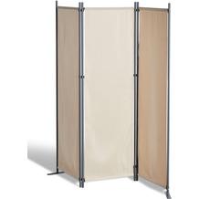 Grasekamp Stellwand 165x170 cm dreiteilig - beige  - Paravent Raumteiler Trennwand  Sichtschutz Beige