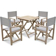 Grasekamp Teak Gartenmöbelset 5 teilig bestehend aus 4 Regie Klappsessel und 1 Garten Klapptisch 70 x 70 cm Sitzgruppe Braun