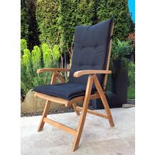 Grasekamp Teak Sessel mit Kissen Anthrazit  Gartenstühle Klappstuhl Gartenmöbel Natur