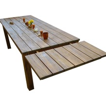 Grasekamp Verlängerung 50x100cm für den rustikalen  Holztisch Akazie Gartentisch braun