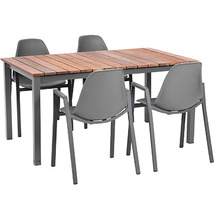 Greemotion Dining Set Sylt, 150 x 74 x 90 c, grau, 5-tlg