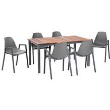 Greemotion Dining Set Sylt, 150 x 74 x 90 cm, grau, 7-tlg