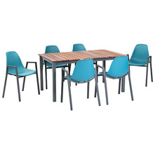 Greemotion Dining Set Sylt, 150 x 74 x 90 cm, petrol, 7-tlg