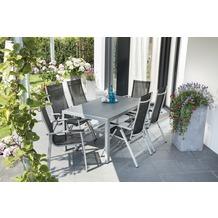 Greemotion Gartentischgruppe Monza 7 tlg. silber/schwarz/Spraystone