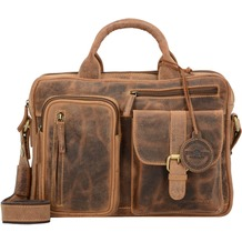 Greenburry Vintage Aktentasche Leder 33 cm Laptopfach brown