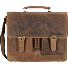 Greenburry Vintage Aktentasche Leder 40 cm Laptopfach braun