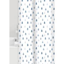 GRUND Duschvorhang Drops weiß/blau 180x200 cm