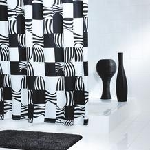 GRUND Duschvorhang NERO schwarz-weiss 180x200 cm