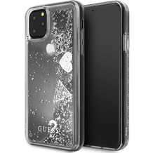 "Guess ""Hearts"" Glitter - Apple iPhone 11 Pro - Silber - Schutzhülle Cover - Hard Case"