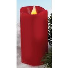 Hellum LED - Wachskerze rot  H: 11,5 cm Ø 5,8 cm