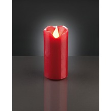 Hellum LED - Wachskerze rot  H: 9,5 cm Ø 5 cm