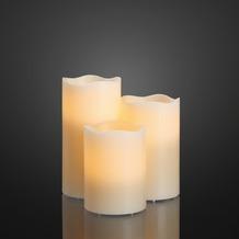 Hellum LED - Wachskerzen, 3er-Set weiß H: 10 cm,  12,5 cm, 15 cm  Ø 7,5 cm