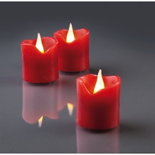 Hellum LED - Wachskerzen, 6er - Set rot  H: 4,2 cm Ø 4 cm