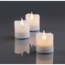 Hellum LED - Wachskerzen, 6er - Set weiß  H: 4,2 cm Ø 4 cm