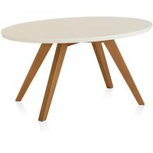Henke Möbel Couchtisch Spitzfüße rund creme 90 x 60 cm