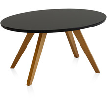 Henke Möbel Couchtisch Spitzfüße rund schwarz 90 x 60 cm