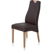 Henke Möbel Polsterstuhl mit Imitationsleder dunkelbraun