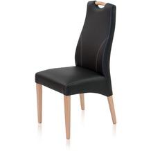 Henke Möbel Polsterstuhl mit Imitationsleder schwarz