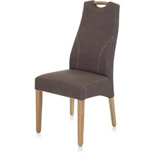 Henke Möbel Stuhl mit Imitationsleder schlammfarbig