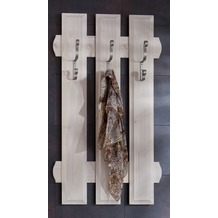 Henke Möbel Wandgarderobe 62 x 103,5 x 4 cm weiß mit 3 Haken