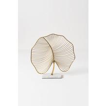 Holländer Dekoobjekt FAVORITO, Blatt rundlich, Eisen gold glänzend weißer Marmorfuß