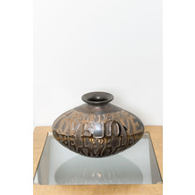 Holländer Dekovase AMORE, höhe 23 cm, Keramik bronze-anthrazit-gold innen glasiert