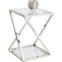 Holländer Tisch STELLATO KLEIN Edelstahl silber - Glas klar