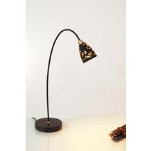 Holländer Tischleuchte 1-flg. ALICE Eisen braun-gold - Muranoglas schwarz mit Blattgold