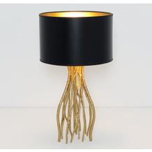 Holländer Tischleuchte 1-flg. CAPRI KLEIN Eisen gold - Schirm außen schwarz-innen gold