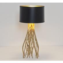 Holländer Tischleuchte 1-flg. CAPRI MITTEL Eisen gold - Schirm außen schwarz-innen gold