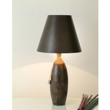 Holländer Tischleuchte 1-flg. CARATTERE ALTA Keramik braun-sand - Schirm braun innen gold Echsenoptik