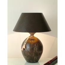Holländer Tischleuchte 1-flg. CARATTERE GRANDISSIMA Keramik braun-sand - Schirm braun innen gold Echsenoptik