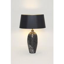 Holländer Tischleuchte 1-flg. MARY OVAL GROSS Keramik schwarz-silber-gold - Schirm Chintz schwarz - innen gold