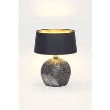 Holländer Tischleuchte 1-flg. MARY OVAL KLEIN Keramik schwarz-silber-gold - Schirm Chintz schwarz - innen gold