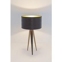 Holländer Tischleuchte 1-flg. PETRA Eisen braun-schwarz-innen gold - Schirm Echse braun-innen gold