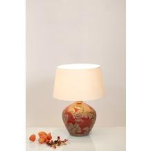 Holländer Tischleuchte 1-flg. TOULOUSE Keramik glasiert rot-schlamm - Schirm rund écru, 42 cm hoch