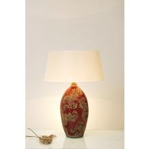 Holländer Tischleuchte 1-flg. TOULOUSE Keramik glasiert rot-schlamm - Schirm rund écru, 65 cm hoch