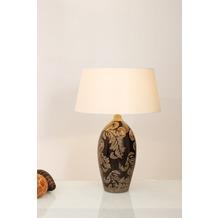 Holländer Tischleuchte 1-flg. TOULOUSE Keramik glasiert schwarz-schlamm - Schirm rund écru, 65 cm hoch