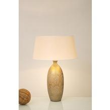 Holländer Tischleuchte 1-flg. VASO BAROCCO Keramik gold-silber - Schirm écru