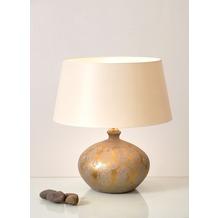 Holländer Tischleuchte 1-flg. VASO BAROCCO Keramik gold-silber - Schirm écru breit