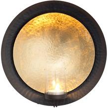Holländer Wandwindlicht DESERTO Metall gold-schwarz - Glas