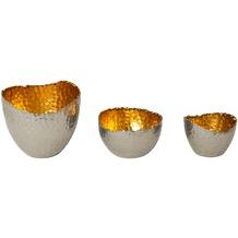 Holländer Windlicht-Set 3-tlg RIVOLUZIONE Metall silber vernickelt - innen gold