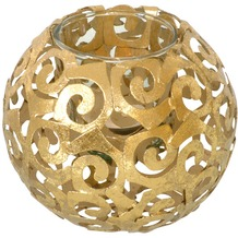 Holländer Windlicht 1-flg. BOLLA Eisen gold - Glas klar