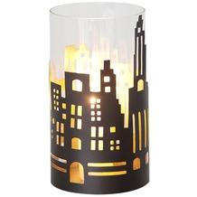 Holländer Windlicht 1-flg. SKYLINE GROSS Metall außen kupfer-braun innen gold - Glas klar
